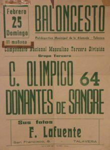 Cartel del partido Donantes de Sangre contra el Olímpico 64 celebrado el 25 de febrero de 1979 en Talavera de la Reina.