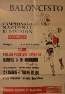 Cartel del partido C:P. Ambroz contra el Olímpico 64, celebrado el 11 de marzo de 1984 en Plasencia.