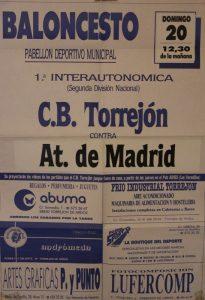 Cartel del partido C.B. Torrejón contra el Olímpico 64 celebrado el 20 de marzo de 1988 en Torrejón de Ardoz.