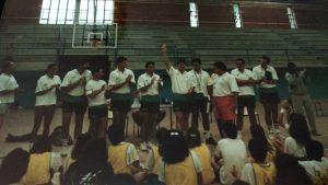 Celebración fin del campus de baloncesto celebrado en Astillero (Cantabria) en 1988.