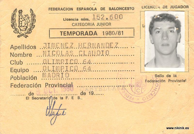 Ficha junior de la temporada 1980-81. La foto es de la época. La original la utilizaría para otra ficha.