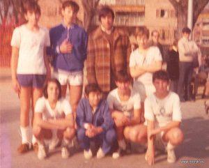 Equipo infantil. Arriba Luis Gil, Luis Javier, Alfonso Peña (entrenador) y Nicolás. Abajo: Miguel de Paúl, Jorge Roig, Constante y Juan Carlos.