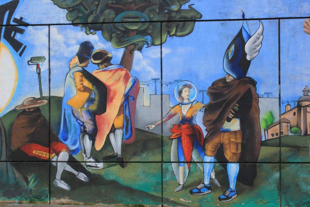Grafiti pintura. Teatro San Pol. Madrid - 2014.. Alegoría de una pintura de Goya con embozados.