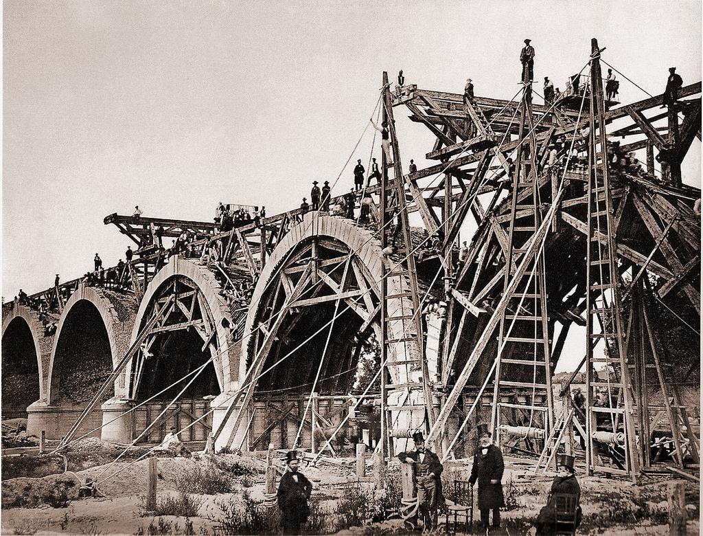 Construcción del Puente de los franceses. Charles Clifford. 1859.